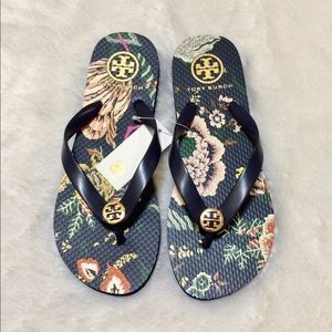 Tory Burch Montauk Navy Happy Times Flip Flops